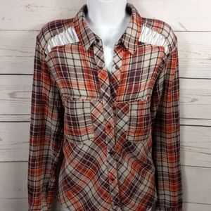 Free People Orange and Purple Snap Button Down